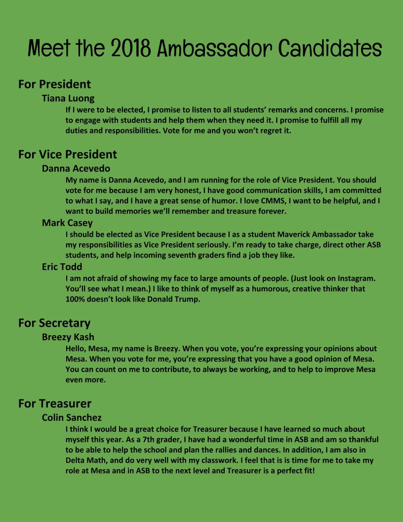 Candidate statements for positions of president, vice president, secretary, and treasurer.