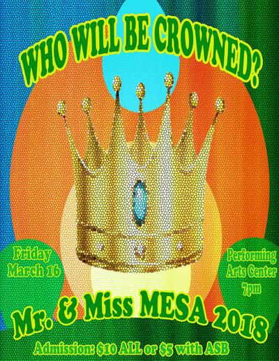 flyer for Mr. and Miss Mesa this Friday at 7pm