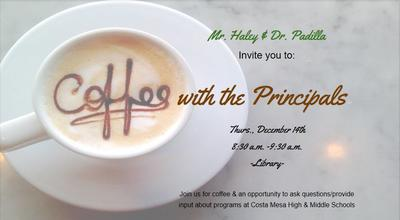 Coffee with the Principals flyer