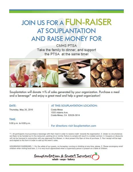 Don't cook dinner Thursday night, eat at Souplantation and Support PTSA!