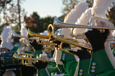 CMHS marching band trumpets in artistic photo