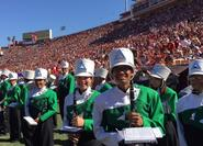 on the field at the USC football game for band day