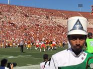 Gus on the field at the USC football game for band day