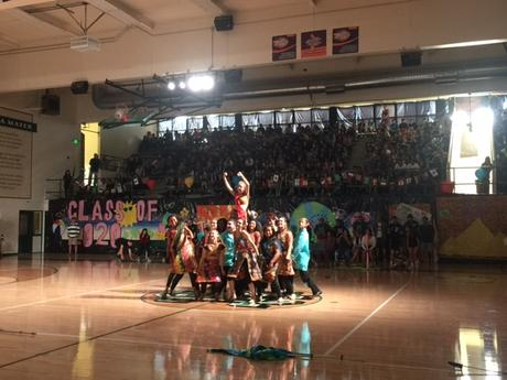 color guard in full costumes from India puts on a great rally performance