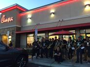 pep band plays at Chick-fil-et rally