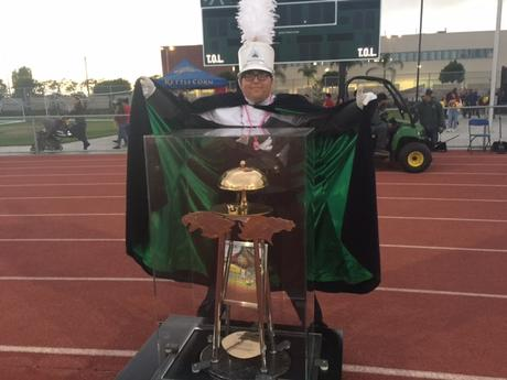zaid pretends to capture Battle of the Bell trophy