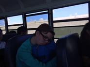 Patrick works so hard he falls asleep on bus ride to competition