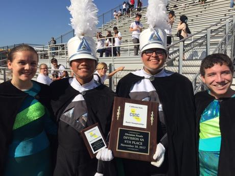 kelsey, han, zaid and santiago receive marching band awards at championships