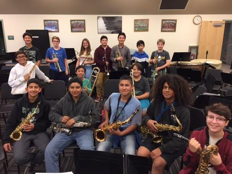 2018 Mesa Jazz Band II pose for a picture