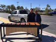 Henry and Han Nguyen with new marimba frame they built