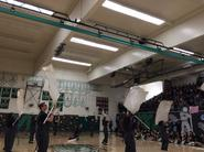 Color Guard performs at the school rally