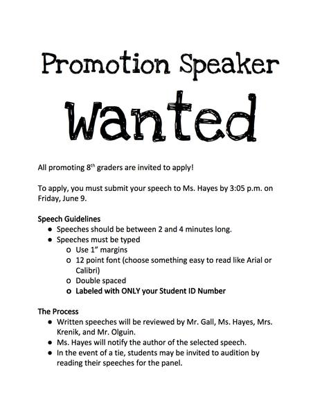 Promotion Speaker Wanted!
